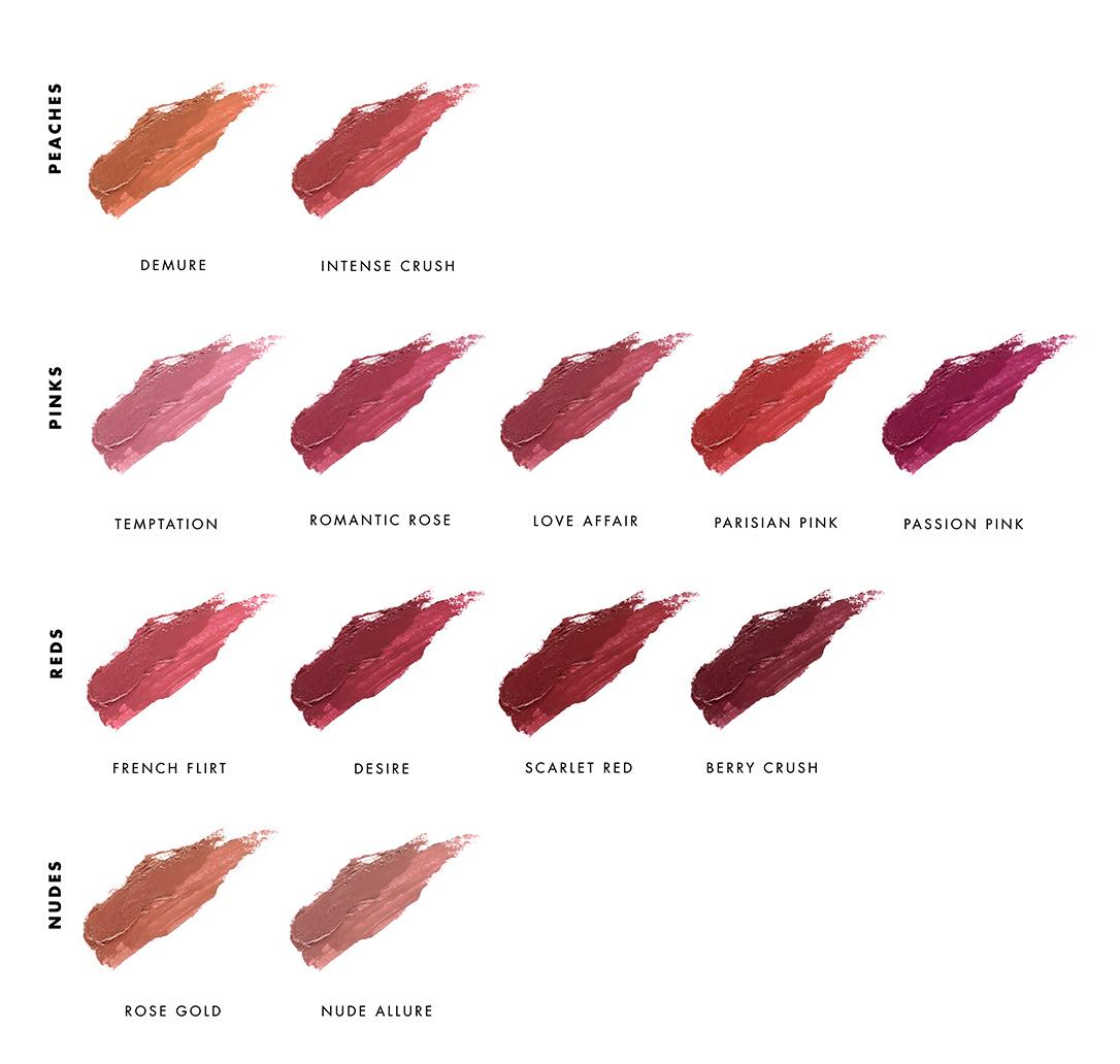 Swatchs rouges à lèvres naturels LILY LOLO chez Ayanature