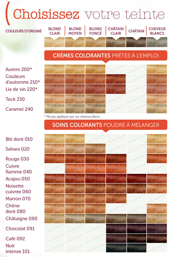 Nuancier de couleurs pour Coloration Végétale LOGONA chez Ayanature