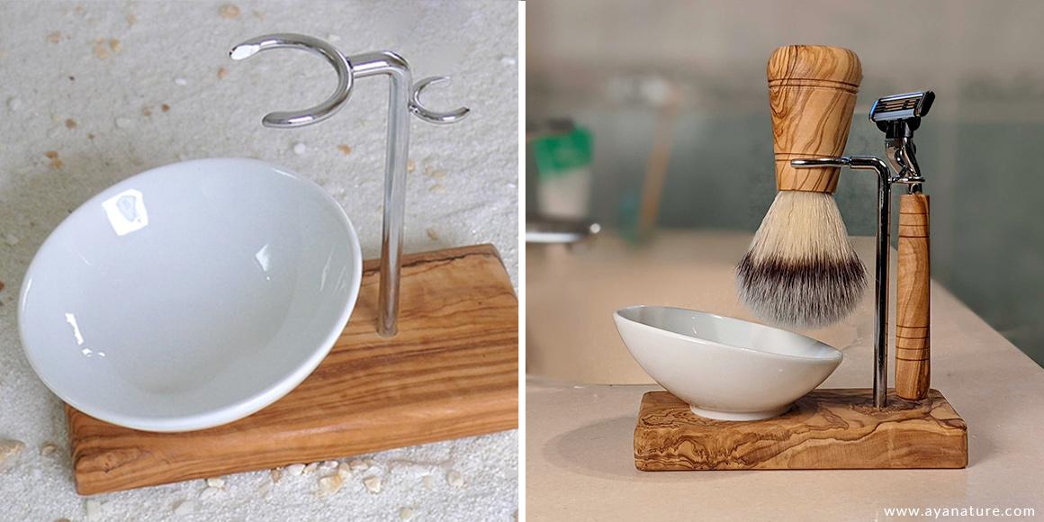 support rasoir blaireau bois olivier