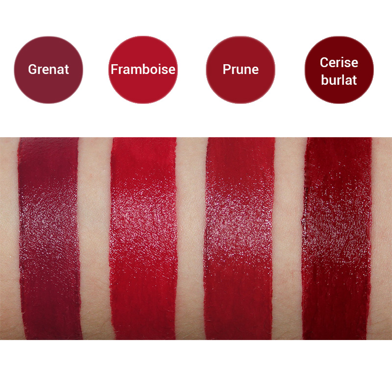 Rouges à Lèvres Bio Swatches Avril