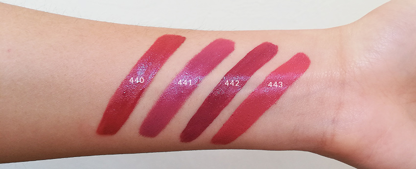 Zao Organic Liquid lipsticks Swatches