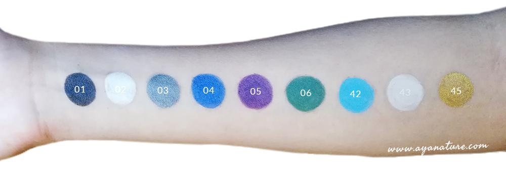 Swatches Crayons Eyeliner Bio Purobio